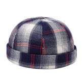 Mens Womens Cotton Plaid French Brimless Hat Skullcap Sailo