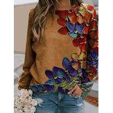 Women Colorful Flower Print Long Sleeves O-Neck Casual Sweatshirt
