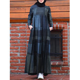 Women Kaftan Tunic Plaid Print Back Zipper Long Sleeve Maxi Layered Dress