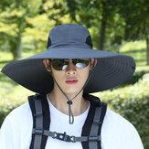 Herren UPF 50+ Eimer Hut Faltbare wasserdichte, atmungsaktive Sonnenschutzkappe mit übergroßer Krempe und Schnur zum Wandern im Freien