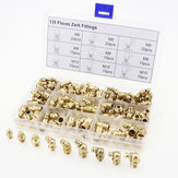135pcs Hydraulic Metric Brass Zerk Grease Nipple Fitting Kit M6/M8/M10 Machinery Parts