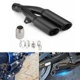 38-51mm غير القابل للصدأ الصلب دراجة نارية الخمار العادم الذيل الأنابيب مزدوجة التوأم تلميح