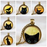 Vintage Metal Glass Cute Cat Necklace Geometric Round Animal Printed Gem Pendant Necklace