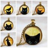 ヴィンテージメタルガラスかわいい猫ネックレス幾何学的な丸い動物プリントジェムペンダントネックレス