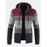 Herren Thick Velvet Casual Thermal Strick Cardigans Hooded Color Matching Jacket