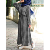 Women Cotton Stripe Waist Tie Long Sleeve Robe Casual Kaftan Maxi Dresses