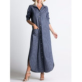 Women Lapel Button Long Sleeve Denim Casual Shirt Dress