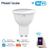 MoesHouse RGB+CW+WW GU10 WiFi Smart LED Bulb Smart Life Tuya 4.5W Dimmable Lamp Work with Alexa Google Home AC100-250V