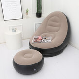 Large Inflatable Lounge Chair Ottoman Set Portable Sofa Footrest Travel
