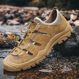 الرجال جلد طبيعي تنفس الجوف شبكة أحذية المشي لمسافات طويلة في الهواء الطلق