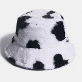 Coelho unissex Cabelo Vaca de pelúcia quente Padrão Balde todo fósforo casual ao ar livre Chapéu