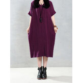 Casual Women Pure Color V-Neck Summer Short Sleeve Loose Dresses