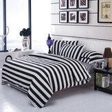 3 Or 4pcs Polyester Fiber Black White Stripe Plaid Geometry Stars Reactive Print Bedding Sets