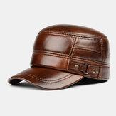 الرجال جلد طبيعي الشتاء الدفء حماية الأذن الصلبة اللون قبعة مسطحة ذروتها قبعة