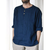 Mens Basic Solid Color 100% Cotton Long Sleeve Henley Shirts