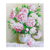 Oil Painting By Number Kit Peony Flower Painting DIY Acrylic Pigment Painting By Numbers Set Hand Craft Art Supplies Home Office Decor