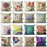 Flores do vintage e Cintura Quadrada Floral Linen Capa de Almofada Decorativa Travesseiro Caso Assento Da Cadeira
