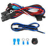 12V Car Universal Fog Light Wiring Kit Round Switch With Red LED Lamp