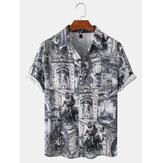 Erkek Vintage Etnik Stil Manzara Baskı Casual Kısa Kollu Gömlek