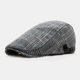 Erkekler Pamuk İngiliz Tarzı Ekose Desen Outdoor Rahat Tüm Maç İleri Şapka Bere Şapka