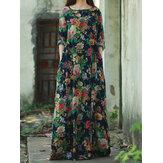 Femme Robe Longue Rétro Imprimée Florale à Manches Longues O-Cou