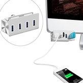 Hub USB en alliage d'aluminium de conception d'agrafe de ports USB 3.0 à grande vitesse 5Gbps 4 pour PC iMac