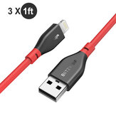 [3 Pack] BlitzWolf® BW-MF11 3x1ft Data Cable Set 2.4A Lightning Compatible Fast Charging For iPhone X XR XS 11 Pro Max