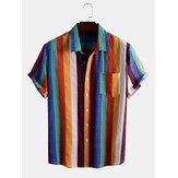 Hombres Colorful Camisas casuales de vacaciones de manga corta con estampado de arcoíris