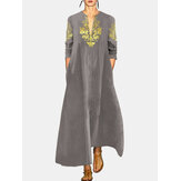 Vintage Print Cotton Linen V-neck Long Sleeve Maxi Dress