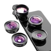 Lentes de telefone com câmera 5 em 1 APEXEL HD Telescópio macro amplo 4K Super Fisheye Lente para iPhonex SE Xiaomi Poco F2 Pro Todos Smartphone Não original
