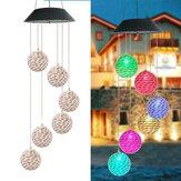 LED Light Solar Light Wind Chime Color Changing Garden Rattan Ball