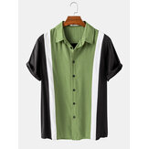 Mens Casual Solid Color Patchwork Lapel Collar Short Sleeve Shirts