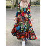 Women Cotton Color Abstract Printing Loose Robe Casual Ruffles Hem Bohemian Maxi Shirt Dress