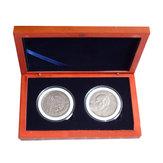 Titular da exposição de madeira Caixa da moeda da coleção da laje do carvalho para a moeda redonda de 2Pcs 52mm