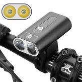 XANES® 600LM duplo T6 LED Luzes de bicicleta Farol de duas cabeças de liga de alumínio 360 ° Rotativo USB Carregamento de farol frontal para bicicleta
