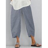 Casual Loose Striped Elastic Waist Irregular Hem Side Pocket Calças Para Mulheres