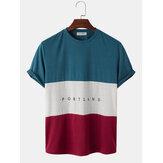 Herren Letter Print Colorblock Stitching Kurzarm Preppy T-Shirts