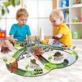 ديناصور لعبة السكك الحديدية مسار سباق السيارات لعبة مجموعة التعليمية الانحناء مرنة لتقوم بها بنفسك تجميع سباق المسار ألعاب السيارات للأطف