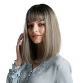 Synthetic Wigs for Woman Black Ombre Grey Burgundy Blonde Silver Brown African American Yaki Striaght Bob Wig