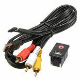 Adattatore universale per adattatore da incasso a crimpare maschio da 3,5 mm 3 RCA AUX USB per car audio