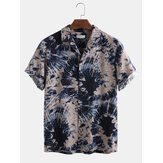 Men 100% Cotton Tie-Dye Print Casual Loose Lapel Short Sleeve Shirts