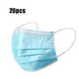 20 stuks wegwerp maskers mond gezichtsmasker 3-laags stofdichte persoonlijke bescherming