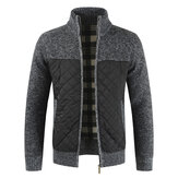 Mens Vinter Casual Fleece Tjock Stitching Stickad Klänning