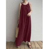 Женщины без рукавов боковые карманы плиссированные повседневные трапеции макси Платье