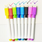 10PCS Colorful Black Ink School Classroom Whiteboard Pen Water-based Erasable Pen Student Children's Drawing Pen with Brush