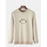 Mens Smile Graphics Pullover Long Sleeve Knitted Casual Sweaters