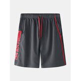 Mens Sports Polyester Drawstring Letter Printing Shorts casuales transpirables