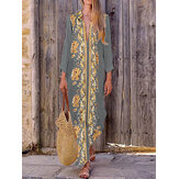 Bohemian Women V Neck Floral Print Beach Holiday Split Maxi Dress