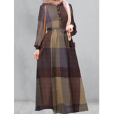 Women Plaid Half Button Kaftan Robe Belted Maxi Dresses With Pocket