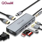 QGeeM 9 In 1 Triple Display USB-C Hub Docking Station Adapter With Dual 4K HDMI HD Display / 1080P VGA / 87W USB-C PD3.0 Power Delivery / USB 3.0 / USB 2.0 / 3.5mm Audio Jack / Memory Card Readers